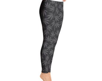 Grey Falling Leaves - Yoga Leggings
