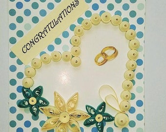 Congratulations Wedding Quilled Card Marriage Husband Wife