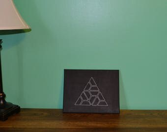 Geometric Triangle Embroidered Canvas