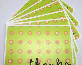 Thank You Cards Set - Set of 6 - Card Set - Green Iridescent Cards - White and Pink fuzzy dots - Thank You Cards - Thanks Cards