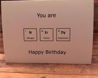 Science Birthday Card Funny Nerdy Periodic Table Elements