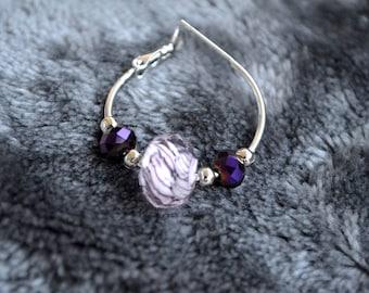 Pink wave earrings