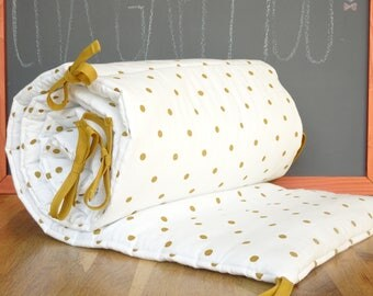 Bumper baby for bed 60 x 120 organic cotton with gold dots