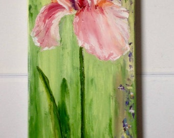 Pink iris - knife oil painting - figurative painting