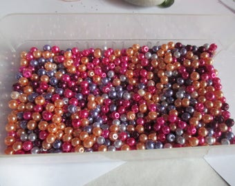 50 beautiful 4 mm pink and purple glass pearls