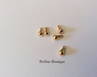 5 charms drops 8 * 4mm plated gold 24 k