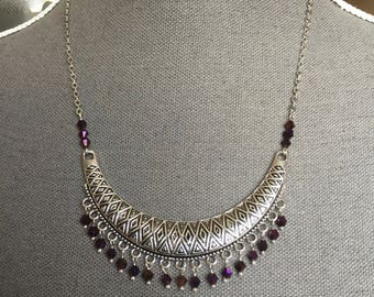 Necklace, ethnic, chain, silver, connector, bib, diamond pattern, beads, glass, purple, purple, shimmer, pink