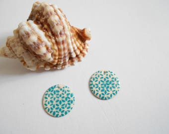 x 2 ivory turquoise sequins
