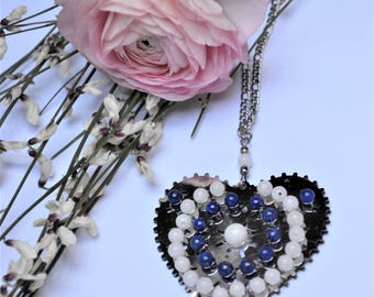 Stainless steel double-sided heart pendant / lapis lazuli and white jade beads / stone of harmony and communication / Valentine's day