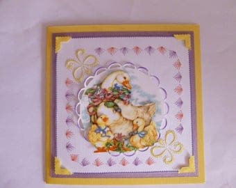 """201777 embroidered card """"Mother Goose and her children"""""""