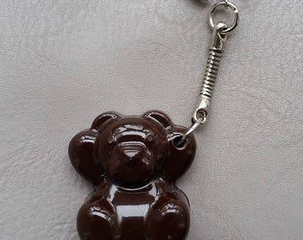 Keychain resin bear in chocolate brown