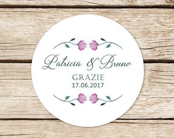 Custom adhesive labels stickers wedding, Parcel, stickers, favour Close bag with Flowers