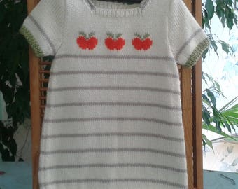 DRESS baby girl 9 months short sleeve wool ecru and beige pattern Apple