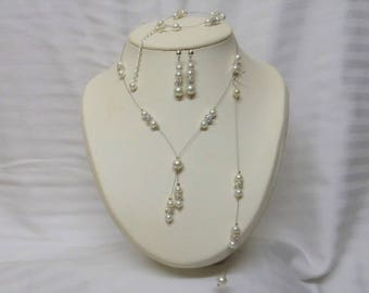 Set 4 pieces wedding bridal Choker necklace pearls rhinestones and ivory