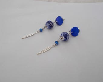 clip in blue and white earrings