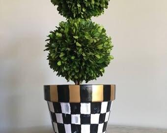 MacKenzie Childs Inspired Courtly Check Handpainted Flower Pot