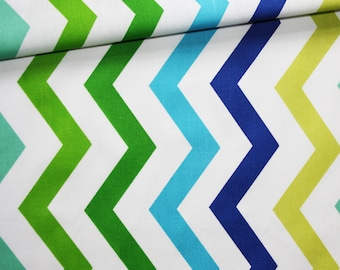 Colorful chevron, 100% cotton fabric printed 50 x 160 cm pattern zig zag chevron spring colors