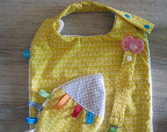 set bib attached pacifier and blanket label