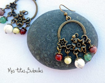 Flower Earrings * stones and BRONZE * multi color stones