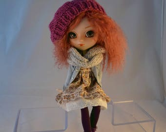 All Pullip jean jacket, raspberry beret