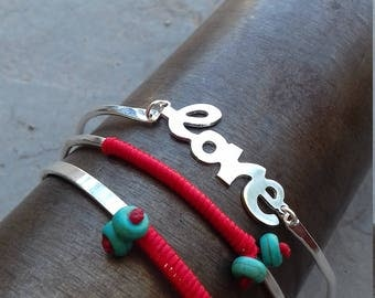 Silver Bangle,Colour Bangle,Boho Bracelet,Love Bracelet,Love Bangle,Gift for Her,Turquoise Bangle