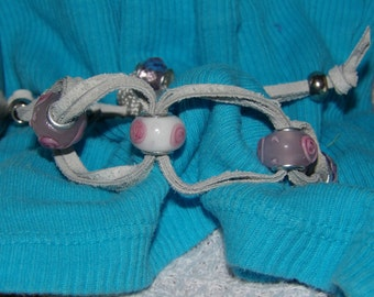 Suede Chain with pink Glass beads
