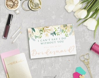 Gold & Ivory Floral Proposal Card, Will You Be My Bridesmaid Card, Rustic Wedding Card, DIY Bridesmaids Card, Instant Download Template