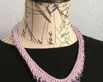 purple knit necklace, knitted necklace, purple bead necklace, beaded necklace, statement necklace, cotton necklace, gifts for her