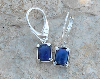 Stud earring, 925 sterling silver, lapis lazuli rectangle size 8 x 6 mm