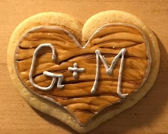 Wood Heart Sugar Cookies