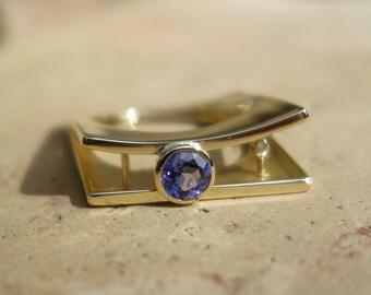 Ring 18 K gold, ring tanzanite diamond ring, women rings, designer ring, architect, unique ring, modern, contemporary ring