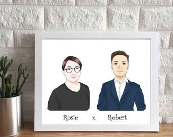 Custom Couple Cartoon Portrait from your Photo / couple portrait / couple illustration / portrait for couples / illustrated couple
