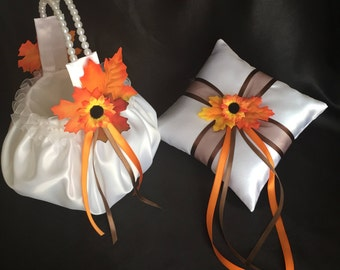 White or ivory and fall colors flower girl basket ring bearer pillow brown orange