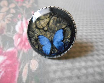 Silver ring Midnight Blue cabochon and old gold Butterfly inclusion