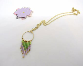 Gypsy collection: round, green and purple seed beads, gold chain necklace - free earrings