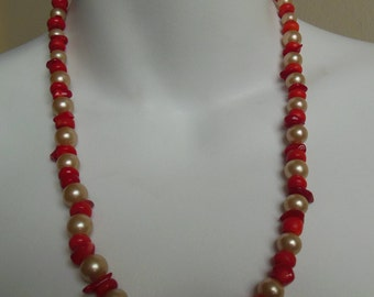 Tottaveronika Design Jewelry beaded pearls and red coral necklace 22 inches long