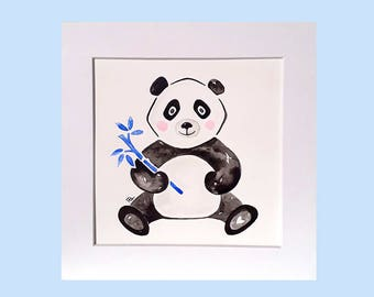 Baby panda nursery artwork, original watercolour artwork, panda and bamboo painting, panda nursery decor,baby boy room art, baby boy nursery