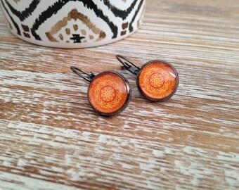 Earrings, stud earring, dangling, round, orange, woman