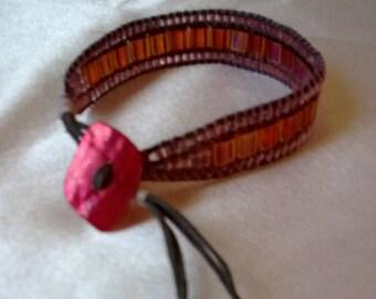 Wrap bracelet 1 rainbow miyuki rounds