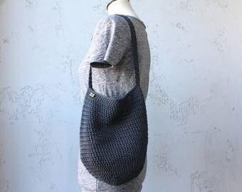 Dark gray cotton farmers market bag with color options tote bag cotton bag grocery bag crochet crocheted market bag produce bag cotton tote