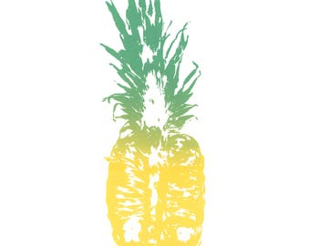 Tropical Ombre Pineapple Print Illustration - A3 Hand Printed Limited Edition Silkscreen Print  - Wall Art - Modern Decor -