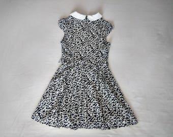 Vintage floral dress / black and white