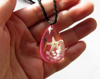 resin Teardrop Pendant, starfish and pink shell on bottom