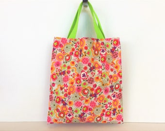 Small tote bag multifunctional inside lining with flowers and fruits