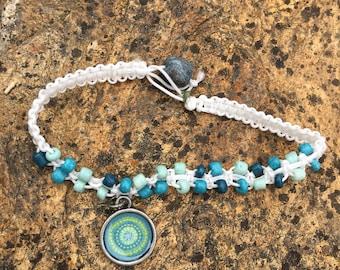 Beach Blue and White Macrame and Bead Bracelet