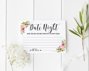 Date night ideas card Date night cards Printable bridal shower games Date night jar cards printable Advice for bride and groom Advice card