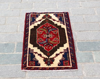 3'x1'7'' Vintage Rug,Oushak Rug,Turkish Handwoven Rug No:4426