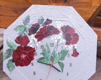 Nice retro clock painted Freehand - flowers decor