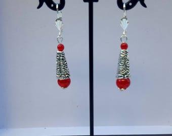 Red jade earrings Celtic