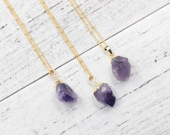 Amethyst Necklaces With Satellite Chains For Bridesmaids Jewelry Party Gift Natural Gemstone Necklaces